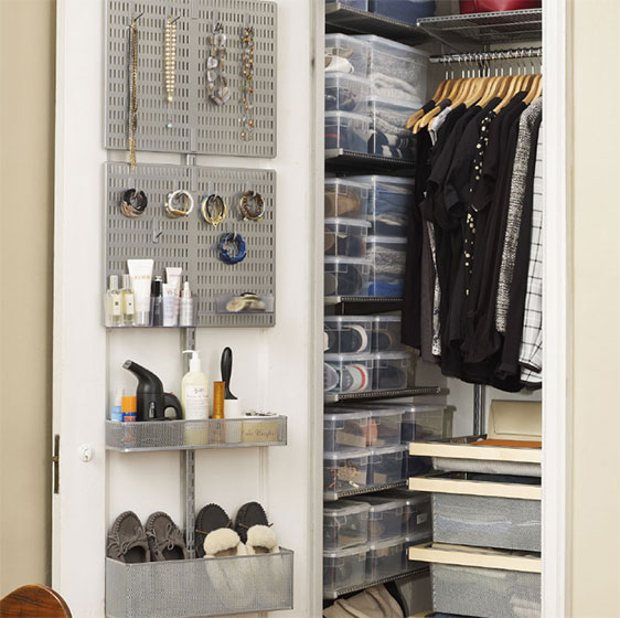 Birch elfa décor Closet with utility Door & Wall Rack