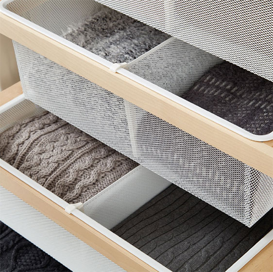 Birch elfa décor Mesh Drawers with Dividers