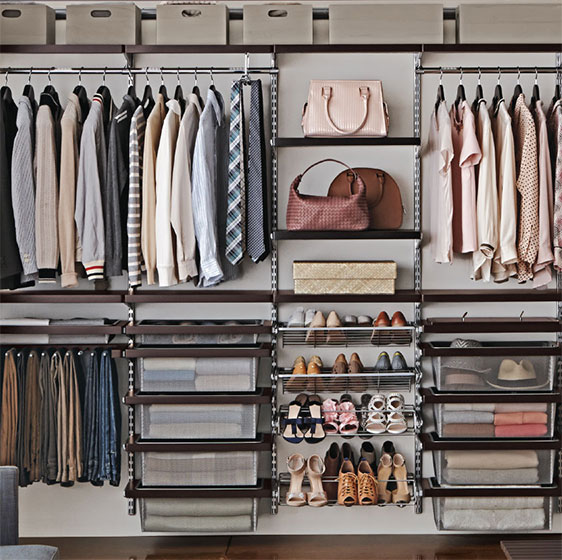 Walnut elfa décor Closet with Gliding Shoe Racks