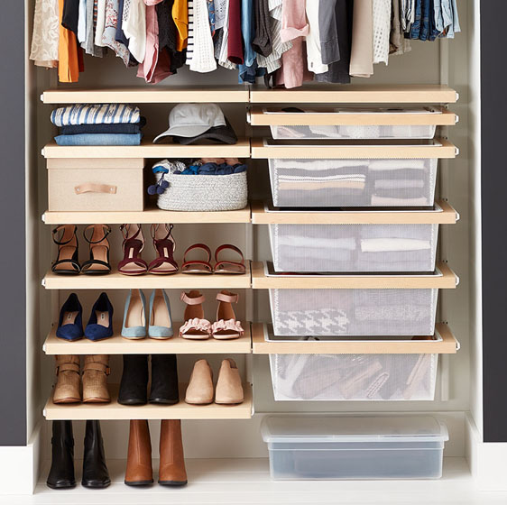 Birch Elfa Décor Closet with Mesh Drawers
