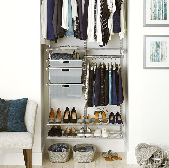 "Platinum Elfa Classic Closet with 18"" Mesh Drawers"