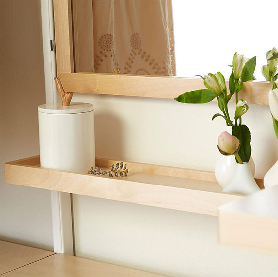Birch elfa décor Mirror and Accessory Shelf