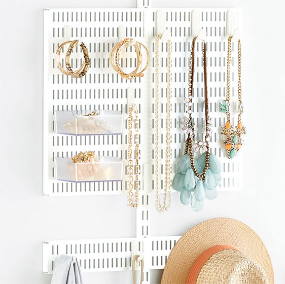 White Elfa Utility Jewelry Board