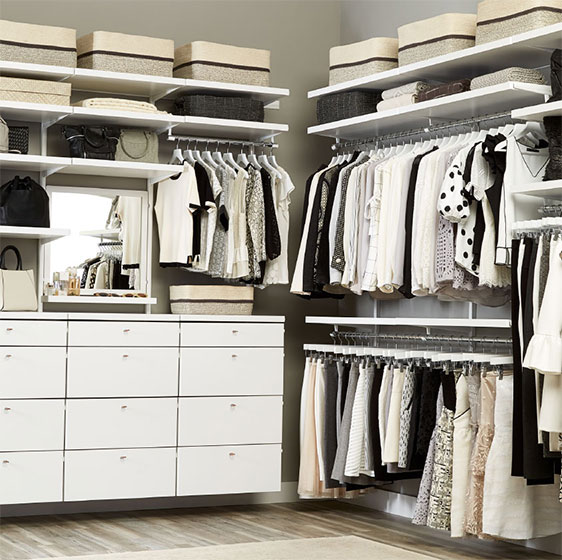 White Elfa Décor Closet With Drawer Fronts