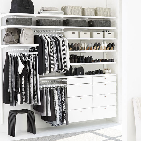 White Elfa Décor Closet with Triple Hanging Space