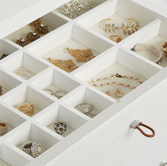 White Elfa Décor Jewelry System and elfa Décor Drawer Front