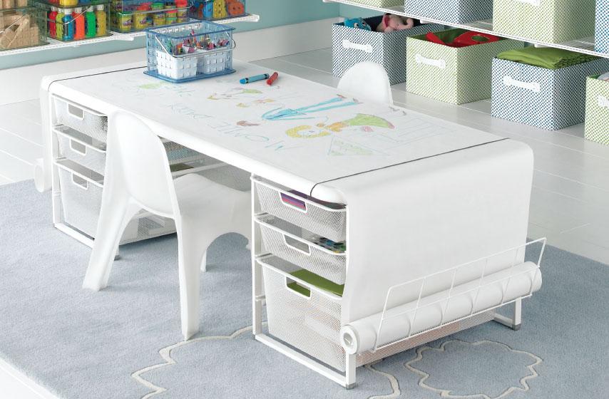White elfa Playroom & Coloring Table