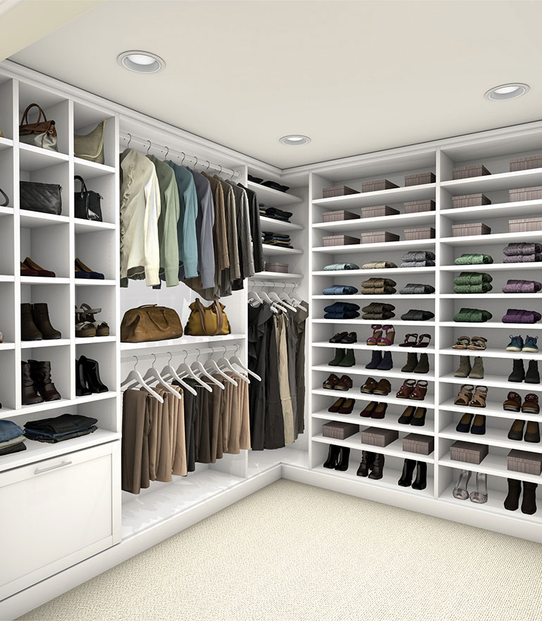 Pure white custom closet view 1