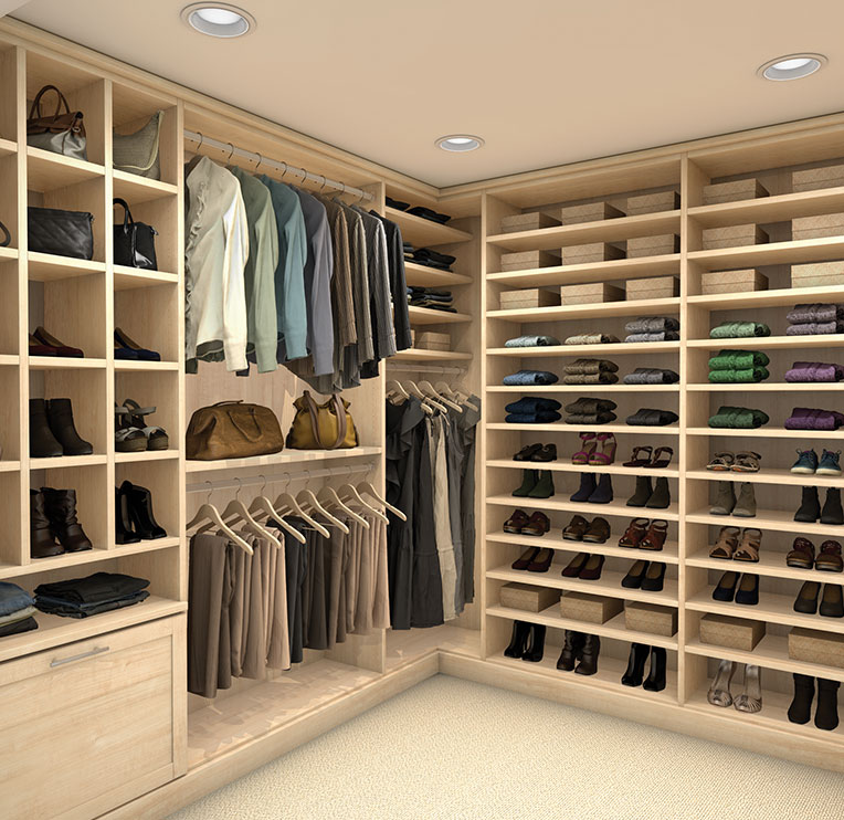 Satin Oak Light Brown Custom Closet View 2