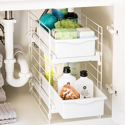 Bathroom ideas organization tips the container store - Maximize space in small bathroom ...