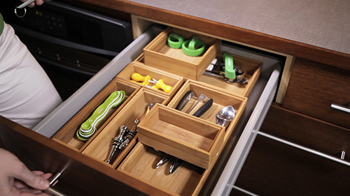 Bamboo Drawer Organizer   Stackable Bamboo Drawer Organizers | The  Container Store